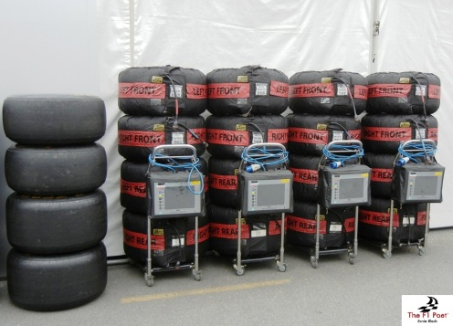 Pirelli tyres in their warming gear