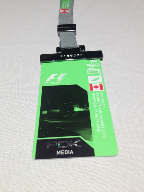 Canadian GP Paddock Media Pass