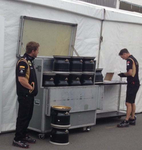 Lotus rims without mounted Pirelli P-Zero tyres