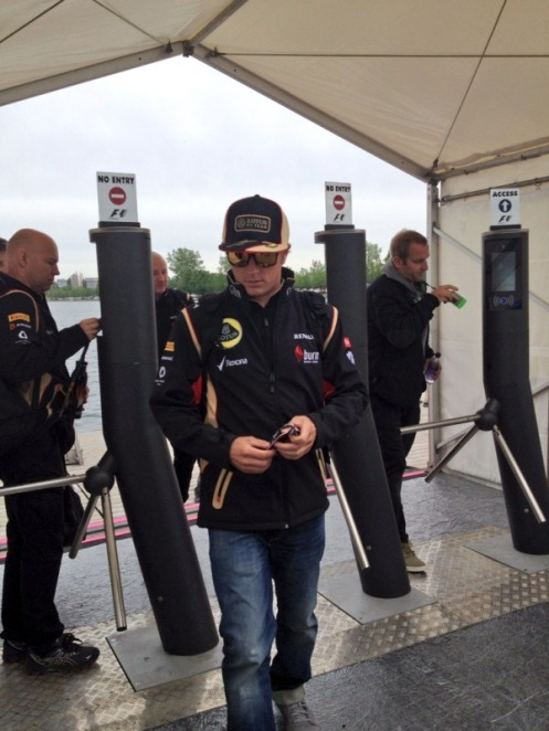 Kimi (The Iceman) arrives to the circuit