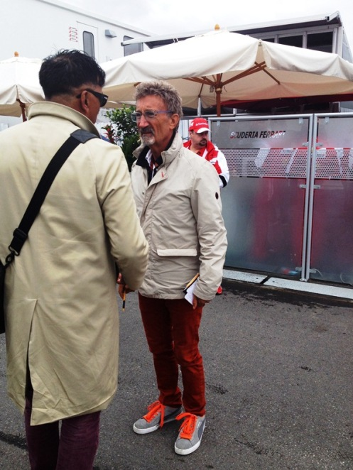EJ giving free fashion advice to passers by.  He is the paddock authority on fashion after all.